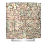 Vintage Map Of North And South Dakota - 1891 Shower Curtain