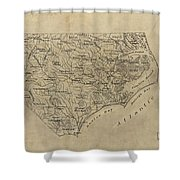 Vintage Map Of North Carolina - 1893 Shower Curtain