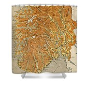 Vintage Map Of Norway - 1914 Shower Curtain