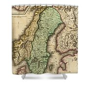 Vintage Map Of Norway And Sweden - 1831 Shower Curtain