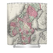 Vintage Map Of Norway And Sweden - 1865 Shower Curtain