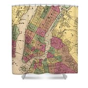 Vintage Map Of Nyc And Brooklyn - 1868 Shower Curtain