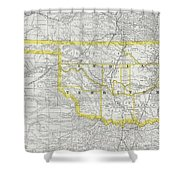 Vintage Map Of Oklahoma - 1889 Shower Curtain