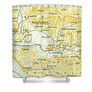 Vintage Map Of Olympia Greece - 1894 Shower Curtain