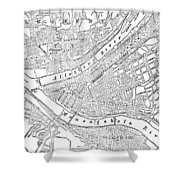 Vintage Map Of Pittsburgh - 1885 Shower Curtain