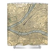 Vintage Map Of Pittsburgh Pa - 1891 Shower Curtain