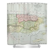 Vintage Map Of Puerto Rico - 1901 Shower Curtain