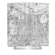 Vintage Map Of Savannah Georgia - 1910 Shower Curtain