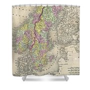 Vintage Map Of Scandinavia - 1850 Shower Curtain