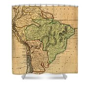 Vintage Map Of South America - 1821 Shower Curtain