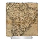 Vintage Map Of South America - 1825 Shower Curtain