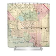 Vintage Map Of Southern California - 1874 Shower Curtain