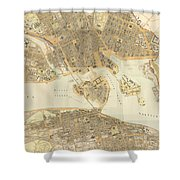 Vintage Map Of Stockholm  Shower Curtain