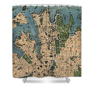 Vintage Map Of Sydney Australia - 1922 Shower Curtain