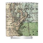 Vintage Map Of Tampa Florida - 1870 Shower Curtain