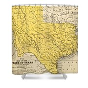Vintage Map Of Texas - 1847 Shower Curtain