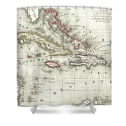 Vintage Map Of The Caribbean - 1852 Shower Curtain