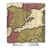 Vintage Map Of The Mediterranean - 1695 Shower Curtain