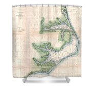 Vintage Map Of The North Carolina Coast  Shower Curtain