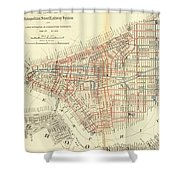 Vintage Map Of The Nyc Railways  Shower Curtain