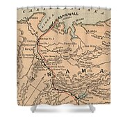 Vintage Map Of The Panama Canal - 1885 Shower Curtain