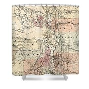 Vintage Map Of The Puget Sound - 1891 Shower Curtain