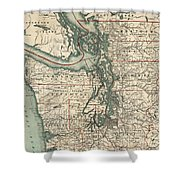 Vintage Map Of The Puget Sound - 1910 Shower Curtain