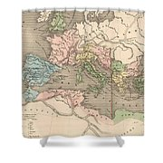 Vintage Map Of The Roman Empire - 1838 Shower Curtain