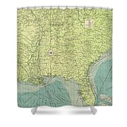 Vintage Map Of The Southeastern U.s. Ports - 1922 Shower Curtain