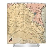 Vintage Map Of The Virginia Battlefields - 1861 Shower Curtain