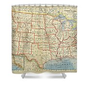 Vintage Map Of United States, 1883 Shower Curtain