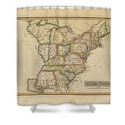 Antique Map Of United States Shower Curtain
