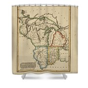 Antique Map Of Upper Territories Of The United States Shower Curtain