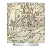 Vintage Map Of Warsaw Poland - 1831 Shower Curtain