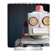 Vintage Mechanical Robot Toy Shower Curtain