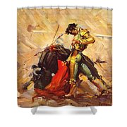 Vintage Mexico Bullfight Travel Poster Shower Curtain