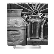 Vintage Milk In Black And White Shower Curtain