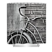 Vintage Montgomery Ward Bicycle 6 - B/w Shower Curtain
