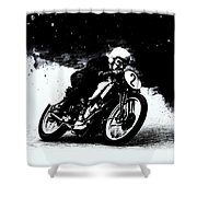 Vintage Motorcycle Racer Shower Curtain