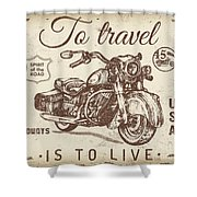 Vintage Motorcycling Mancave-a Shower Curtain
