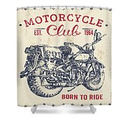 Vintage Motorcycling Mancave-b Shower Curtain