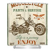 Vintage Motorcycling Mancave-c Shower Curtain
