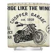 Vintage Motorcycling Mancave-d Shower Curtain