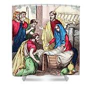 Vintage Nativity Scene Shower Curtain