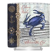 Vintage Nautical Crab Shower Curtain