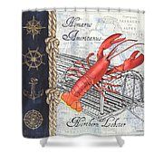 Vintage Nautical Lobster Shower Curtain