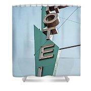 Vintage Neon Sign Hotel Livingston Montana Shower Curtain