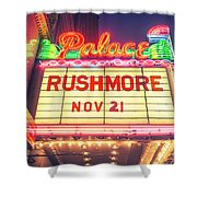 Vintage Neon Sign Over The Entrance To Historic Palace Theatre In Downtown La. Shower Curtain