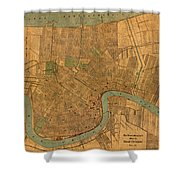 Vintage New Orleans Louisiana Street Map 1919 Retro Cartography Print On Worn Canvas Shower Curtain