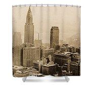 Vintage New York City Skyline Photograph - 1935 Shower Curtain